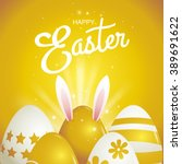Happy Easter  Typography   Gol...