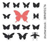 butterflies  cicada set... | Shutterstock . vector #389693176