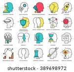 thin line icons set. brain ... | Shutterstock .eps vector #389698972