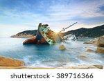 shipwreck or wrecked cargo ship ... | Shutterstock . vector #389716366