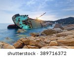 shipwreck or wrecked cargo ship ... | Shutterstock . vector #389716372