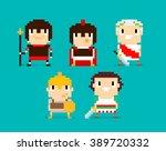 pixel art characters  group of... | Shutterstock .eps vector #389720332