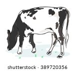 the cow chews a grass on a... | Shutterstock .eps vector #389720356