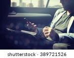 businessman using laptop in his ... | Shutterstock . vector #389721526
