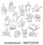 vector set of hands and... | Shutterstock .eps vector #389723545