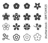sakura flowers icon set  ... | Shutterstock .eps vector #389724925