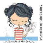 cute girl vector book... | Shutterstock .eps vector #389733862