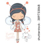 fairy cute girl and little cat... | Shutterstock .eps vector #389733868