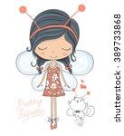 fairy cute girl and little cat...   Shutterstock .eps vector #389733868