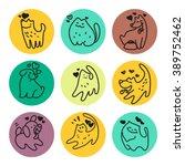 vector flat pet logo. dog  cat...   Shutterstock .eps vector #389752462