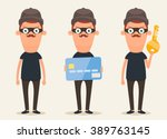 cute cartoon thieves. vector set   Shutterstock .eps vector #389763145