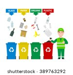 garbage man in uniform with... | Shutterstock .eps vector #389763292
