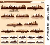 city skyline set. asia. vector... | Shutterstock .eps vector #389765815