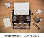 vintage typewriter. cup ...   Shutterstock . vector #389768872