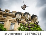 Flying Pigeon And Street...