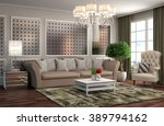 interior with sofa. 3d... | Shutterstock . vector #389794162