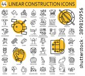 black flat line vector set icon ... | Shutterstock .eps vector #389810956
