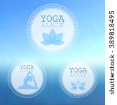 vector yoga illustration. yoga...   Shutterstock .eps vector #389818495