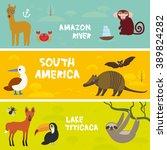 cute animals set anteater... | Shutterstock .eps vector #389824282