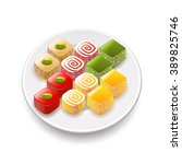 turkish sweets isolated on... | Shutterstock .eps vector #389825746