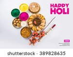 happy holi greeting card... | Shutterstock . vector #389828635