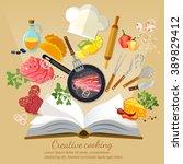 cookbook creative cooking flat... | Shutterstock .eps vector #389829412