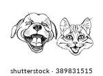 funny kitten and puppy  black... | Shutterstock .eps vector #389831515