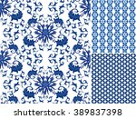 chinese pattern set. seamless... | Shutterstock .eps vector #389837398