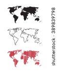 vector set of three world maps. ... | Shutterstock .eps vector #389839798