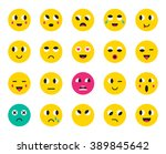 set of emoticons or emoji.... | Shutterstock .eps vector #389845642
