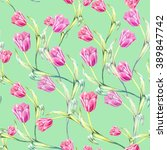 seamless floral background with ... | Shutterstock . vector #389847742