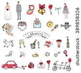 hand drawn doodle wedding...   Shutterstock .eps vector #389858326
