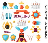 set of bowling game items.... | Shutterstock .eps vector #389858392