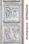 Small photo of BOLOGNA, ITALY - JUNE 04: Expulsion from Paradise up, the work of Adam and Eve down, panel by Jacopo della Quercia on the central door of San Petronio Basilica in Bologna, Italy, on June 04, 2015