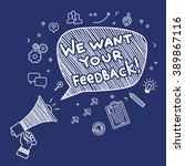concept of feedback. hand... | Shutterstock .eps vector #389867116