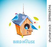 Wooden Birdhouse With...