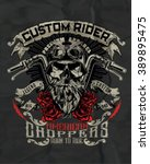 vintage biker skull with wings... | Shutterstock .eps vector #389895475