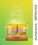 travel to asia. open suitcase... | Shutterstock .eps vector #389901442