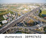 aerial view above the inter... | Shutterstock . vector #389907652