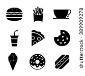 fast food icon set | Shutterstock .eps vector #389909278