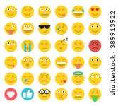 set of emoticons. set of emoji. ... | Shutterstock .eps vector #389913922