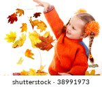 Girl child in autumn orange leaves.Fall discount. Isolated. - stock photo