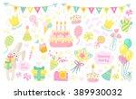 happy birthday celebration... | Shutterstock .eps vector #389930032