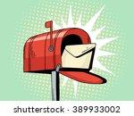 Cartoon Pop Art Red Mailbox...