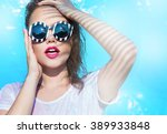 colorful portrait of young... | Shutterstock . vector #389933848