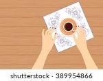vector illustration of a woman... | Shutterstock .eps vector #389954866