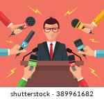 press conference. vector flat... | Shutterstock .eps vector #389961682