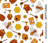 seamless pattern with beehive ... | Shutterstock . vector #389976886