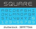 square futuristic alphabet and... | Shutterstock .eps vector #389977066