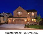 suburban house at dusk with... | Shutterstock . vector #38998306